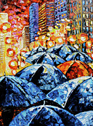 Palette Knife Texture Posters - Rainy Night Oil Painting Umbrellas Poster by Beata Sasik