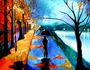 Figures Pastels Prints - Rainy Night Print by Tom Fedro - Fidostudio