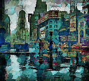 Building Exterior Digital Art - Rainy NYC by Yury Malkov