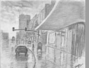 Rain Drawings - Rainy Sunday by Horacio Prada