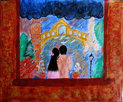 Couple Paintings - Rainy Tea Story by Meenakshi Shrivastava