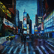 Midtown Painting Posters - Rainy Times Poster by Lauren Luna