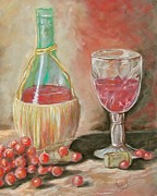 Red Wine Bottle Pastels Prints - Raise Your Glass Print by Sandra Valentini