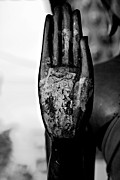Thai Photos - Raised Buddha Hand - Black and White by Dean Harte