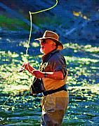 Fly Fisherman Posters - Raising Cane Poster by Diane E Berry