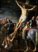 Virgin Mary Paintings - Raising the Cross by Gaspar de Crayer