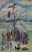 Wyoming Drawings - Raising the Eagles Tree - Dream Series 3 by Dawn Senior-Trask