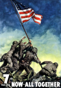 American Flag Digital Art Prints - Raising The Flag On Iwo Jima Print by War Is Hell Store