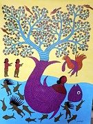 Gond Art Painting Originals - Raj 07 by Rajendra Kumar Shyam