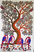 Gond Art Painting Originals - Raj 08 by Rajendra Kumar Shyam