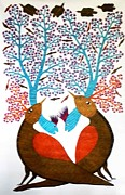 Gond Tribal Art Painting Originals - RAJ 34  Birds And Trees by Rajendra Kumar Shyam