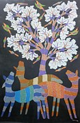 Gond Tribal Art Painting Originals - Raj 75 by Rajendra Kumar Shyam