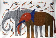 Gond Art Painting Originals - Raj 89 by Rajendra Kumar Shyam