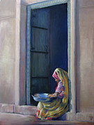 India Pastels Metal Prints - Rajasthan Woman Metal Print by Diane Breuer