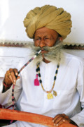 Water Pipe Posters - Rajasthani Elder Poster by Michele Burgess