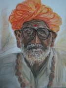 Turban Pastels Framed Prints - Rajasthani Old Man portrait Framed Print by Pvuthark Vuthark