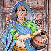 Ornamental Pastels - Rajasthani Woman by Murali
