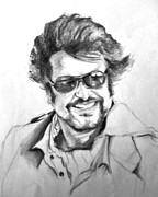 Photograph Drawings Framed Prints - Rajnikanth Framed Print by ilendra Vyas