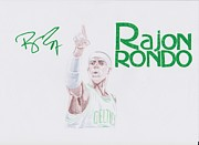 Boston Celtics Drawings Posters - Rajon Rondo Poster by Toni Jaso