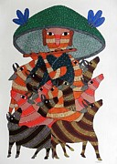 Gond Art Painting Originals - Raju 54 by Raju  Rajendra Shyam