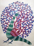 Gond Art Paintings - Raju 55 Tree Of Life by Rajendra Shyam