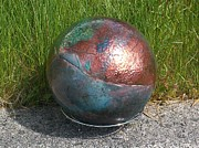Sphere Ceramics Originals - Raku Garden Globe by Susan Bornstein