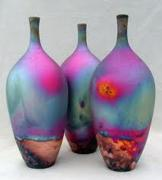 Pots Ceramics - Raku pots by Chris Hawkins