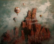 Hot Air Paintings - Rally Over Castle Rock by Tom Shropshire