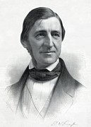 Author Prints - Ralph Waldo Emerson 1803-82 From An Print by Everett