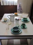 Stoneware Prints - Ralphies Breakfast Table Print by Kelly Mezzapelle