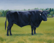 Kobe Beef Paintings - Ralphs Bull by Stacey Neumiller