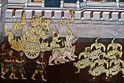 Ramayana Photo Prints - Ramayana Wall Painting at Wat Phra Kaeo Bangkok Thailand Print by Chatchai Piansangsan