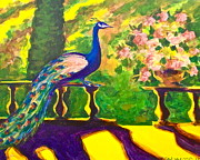 Purple Roses Prints - Ramonas Peacock Print by Linda Zolten Wood