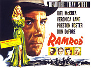 Mccrea Framed Prints - Ramrod, Joel Mccrea, Veronica Lake Framed Print by Everett