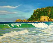 Puerto Rico Paintings - Ramy Base Beach by Milagros Palmieri