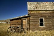 Wooden Wagons Posters - Ranchers House In Prairie Semi-ghost Poster by Pete Ryan