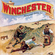 Winchester Posters - Ranchmen Protecting Stock Poster by Fredrick Remington