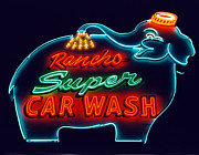 Desert Wash Framed Prints - Rancho Car Wash Framed Print by Matthew Bamberg