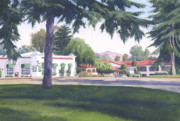 Downtown Painting Metal Prints - Rancho Santa Fe Center Metal Print by Mary Helmreich