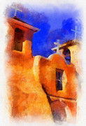 Taos Metal Prints - Ranchos church towers - aquarell Metal Print by Charles Muhle