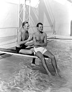 Cary Photo Framed Prints - Randolph Scott And Cary Grant Poolside Framed Print by Everett