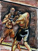 Randy Mixed Media Framed Prints - Randy Couture vs. Gabriel Gonzaga Framed Print by Michael Cook