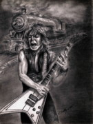 Rhodes Drawings Posters - Randy Rhoads Poster by Kathleen Kelly Thompson