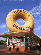 Los Angeles Mixed Media Metal Prints - Randys Donuts Metal Print by Russell Pierce