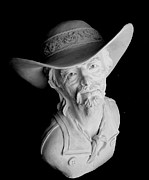 Male Portrait Sculpture Sculptures - Range Rider by Wayne Niemi