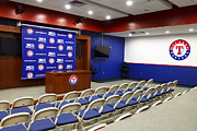 Baseball Art Print Photos - Rangers Press Room by Ricky Barnard