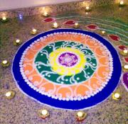 Lamps Mixed Media Posters - Rangoli- Festive colours Poster by Sunaina Serna Ahluwalia