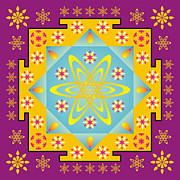 Meditating Digital Art Posters - Rangoli mandala Poster by Steeve Dubois