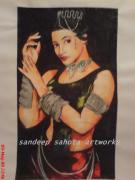 Chinese American Drawings - Rani Mukerjee by Sandeep Kumar Sahota