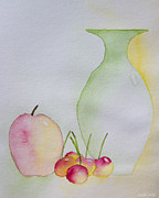 Heidi Painting Posters - Ranier Cherries And A Pink Lady Poster by Heidi Smith